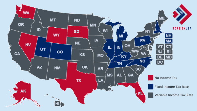 What are each States Income Tax Rates Map